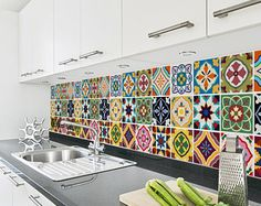 Talavera Tile Decals - Tile Stickers Set - Talavera Traditional Tiles Kit - Tiles for Kitchen - Kitchen Backsplash - PACK OF 24 Kitchen Wall Tiles, Room Tiles, Kitchen Backsplash, Backsplash Design, Tile Stickers Kitchen, Colourful Kitchen Tiles, Spanish Tile Kitchen, Mexican Tile Kitchen, Backsplash Ideas