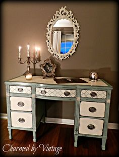 Vintage Mahogany Beach Cottage Desk / Vanity by Charmed By Vintage, / Annie Sloan Chalk Paint Duck Egg Blue and Old White Chalk Paint Furniture, Furniture Projects, Furniture Making, Diy Furniture, Furniture Vanity, Refurbished Furniture, Repurposed Furniture, Furniture Makeover, Vintage Furniture