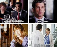 """""""So you two met when she was a student of your's?yeah, I suppose.this morning it was Derek and now it's Dr."""" Meredith Grey and Derek Shepherd, Grey's Anatomy quotes Greys Anatomy Actors, Greys Anatomy Funny, Grays Anatomy Tv, Grey Anatomy Quotes, Best Tv Shows, Best Shows Ever, Meredith And Derek, Grey's Anatomy Tv Show, Grey Quotes"""