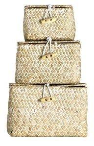 Koszyki szkatułki, 3 szt., białe