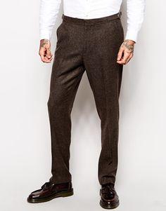 Skinny Fit Suit in Brown Herringbone $161.08