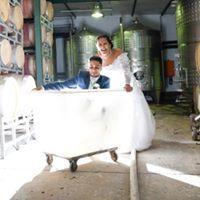 Bridal Couple having fun in a cellar in Cape Town.