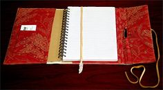 fabric covered notebook:  Materials: fabric, charm, ribbon, measuring tape, card, sewing machine
