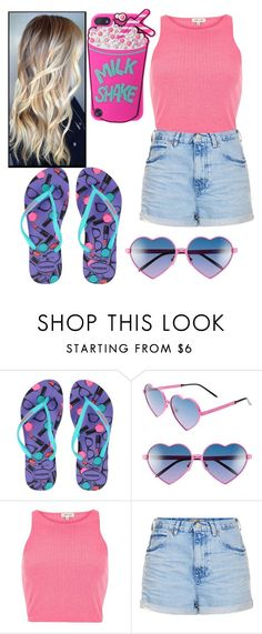 """#166"" by mah-bezerra ❤ liked on Polyvore featuring Havaianas, Wildfox, River Island and Topshop"