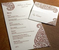 Floral inspired paisley wedding reception menu and personalized place card in a rich chocolate brown.  | Invitations by Ajalon | invitationsbyajalon.com