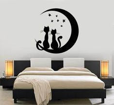 Wall Vinyl Moon Stars Cat Romantic Night Decor For Bedroom Mural Art - Cool Modern Wall Decals Simple Wall Paintings, Creative Wall Painting, Wall Painting Decor, Bedroom Murals, Bedroom Wall, Bedroom Decor, Wall Art Designs, Wall Design, Mural Art