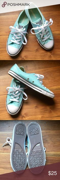 """Lt. blue Converse All Star low-tops, brand new! 🌼 Pretty light blue Converse Chuck Taylor All Stars, women's size 7. These have the smaller sole (about 1"""" sole to canvas) and so are a little lighter and have a sightly lower profile than the traditional old-school unisex Chucks. Comfortable and classic! Bonus: These are basically brand-new! They have been worn one time--but only contact with outside dirt was house to car. 😄 Converse Shoes"""