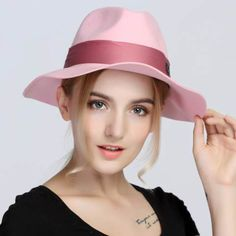 Pink fedora hat for women vintage wool blend wide brim felt hats winter wear 675c951105b5