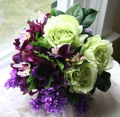 Purple Lilac And Lime Green Bouquet In Silk Weddings Groom Boutonniere