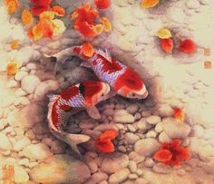 """Counted Cross Stitch SNOW WHITE - """"Colored Carps"""""""