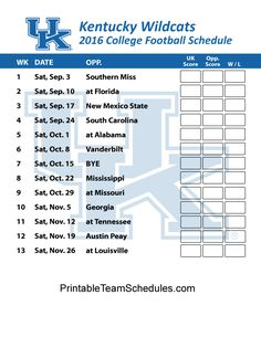 Kentucky Wildcats Football Schedule 2016. Printable Schedule Here - http://printableteamschedules.com/collegefootball/kentuckywildcats.php
