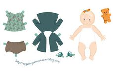 French website with multiple printables of paper babies