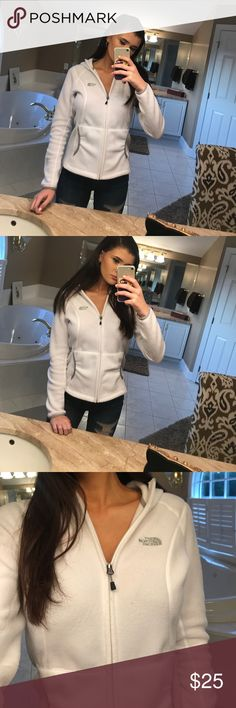 North face White zip up jacket Good condition very comfortable, a small stain on it near left pocket I will try to remove it, The North Face Jackets & Coats
