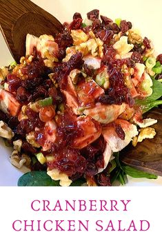 This salad perfectly balances sweet and salty and is packed with crunchy texture! Savory Salads, Healthy Salad Recipes, Cooking Chicken To Shred, How To Cook Chicken, Cranberry Chicken, Cheese Salad, Side Salad, Amazing Recipes, Chicken Salad