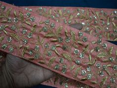 Peach and Gold Embroidered designer Indian Saree Border Wholesale Trimmings Ribbon Indian Sari Border gold indian trim Diy Belts, Border Embroidery, Fashion Tape, Saree Border, Passementerie, Sewing Trim, Gypsy Dresses, Fabric Suppliers, Brocade Fabric