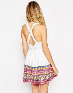 Image 2 of ASOS Skater Dress with Geo-Tribal Embroidered Hem