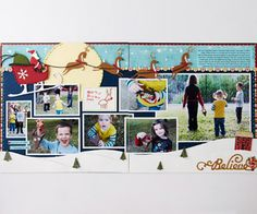 Two-Page Christmas Layouts    Capture more Christmastime memories in one scrapbook layout design using these two-page ideas for holiday photos. Believe in Santa Scrapbook Layout