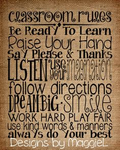 Classroom Rules on Burlap background. Perfect by DesignsbyMaggieL, $3.00