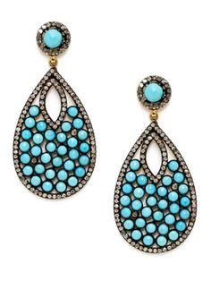 Aishwarya Turquoise Disc & Diamond Teardrop Earrings