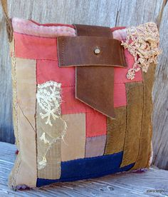 1800's Primitive American Quilt Bag Small Cross Body by stacyleigh