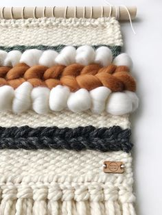 Items similar to Woven wall hanging / off white cinnamon green gray wall decor / woven wall art / handwoven tapestry / minimalist decor / Christmas gift on Etsy Weaving Wall Hanging, Weaving Art, Loom Weaving, Tapestry Weaving, Hand Weaving, Yarn Wall Art, Weaving Projects, Macrame Design, Boho Diy
