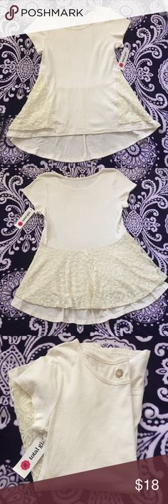 Girls top❤️🌹 Super nice girls off white color top with back lace. Hi-low super cute and NWT. Size L 14❤️🌹💕💚 total girl Shirts & Tops Blouses