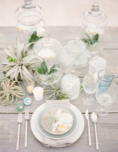 2014/2015 Bridal Horoscopes | Pisces: Heath Ceramics China (in Opaque White, Mist & French Grey), Birch Flatware, Cut Crystal & Light Blue Goblets, and Champagne Coupes. // Casa de Perrin via Flutter Magazine