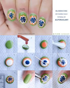 Dry marble Nails Tutorial by @alpsnailart #howto #nailart - bellashoot.com & bellashoot iPhone & iPad