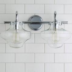 Modern Clear Schoolhouse Globe Vanity - 2 Light - Shades of Light Vanity Light Bar, Vanity Lighting, Bathroom Renos, Bathroom Renovations, Bathrooms, Bath Fixtures, Glass Globe, Guest Bath