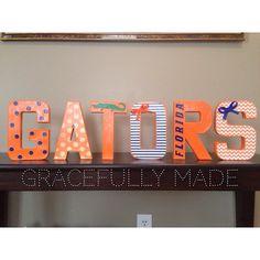 "University of Florida decorative letters ""Gators""! Florida Gators Baby, Florida Gators Football, Florida Girl, Gator Football, Gator Game, Football Decor, Nebraska Football, Broncos, Craft Projects"