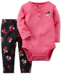 0bcc6d99f0a76 Carter s Baby Girls  2-Piece Flower Bodysuit   Pants Set Kids - Sets    Outfits - Macy s