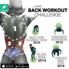 Back Workout Challenge, Back Workout Routine, Full Body Gym Workout, Back Fat Workout, Gym Workout Videos, Gym Workout For Beginners, Fitness Workout For Women, Easy Workouts, Back Exercises
