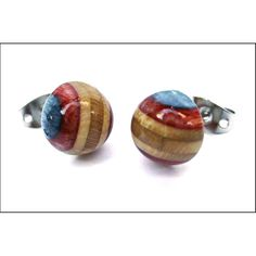 Recycled Skateboard Lady Bug Shaped Earrings Blue by DeckDesigns, $26.00