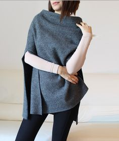 wool cape, minimal gray wool poncho cape by Afycollection on Etsy https://www.etsy.com/listing/191071282/wool-cape-minimal-gray-wool-poncho-cape
