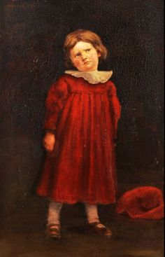 Ferenczy Károly, Béni vörös ruhában (Béni in red dress), 1894 Dads, Fine Art, Portrait, 19th Century, Families, Twins, Blog, Youth, Paintings