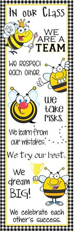 BEES Theme Classroom Decor/ Character Education Banner / X-Large / In Our Class / JPEG / ARTrageous FUN