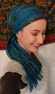 Wrapunzel: Looks like the pony tail tie (wrong name) with sari scarf and Israel tichel