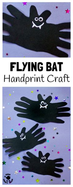 A cute and cheeky HALLOWEEN BAT HANDPRINT CRAFT for kids. Great Halloween craft party decoration or for sticking on greeting cards. Add some elastic and turn your bat craft into a flying bat toy for kids to play with!