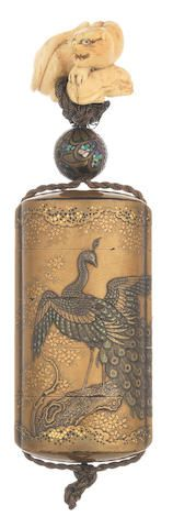 A gold-lacquer four-case inro with an ivory netsuke The inro by Jokasai, Edo period (1615-1868), 19th century