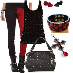 """black and red studded"" simple punk rock outfit"