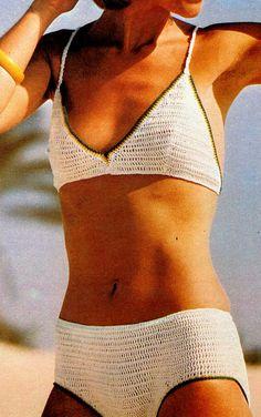 "PDF 1970 Bikini 2 Pc Bathing Suit Pattern Download Crochet SZ 34"" Quick Easy Download NOW"