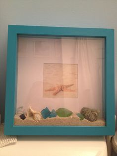 I made this beach sand shadow box for the bathroom in my office...total cost of project: $4 (for the shadow box, everything else I already had on hand!)