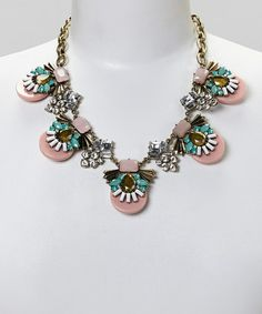 Look at this #zulilyfind! Pink & Blue Deco Crystal Bib Necklace by Sorta Southern Boutique #zulilyfinds