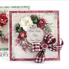 Lady E (@emiliasieradzan) | Christmas Wreath on my card ;) with flowers #wildorchidcrafts papers are from #lemoncraft #handmade #cardmaking #uniquegifts #christmas #wreath #flowers | Intagme - The Best Instagram Widget