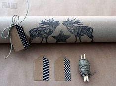 Unique Christmas gift wrap set  Hand printed by PinaPango on Etsy
