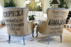 Burlap coffee bags upcycled as upholstery Burlap Chair, Burlap Sacks, Burlap Furniture, Burlap Coffee Bags, Coffee Sacks, French Chairs, Grain Sack, Feed Sacks, Decorating Tools