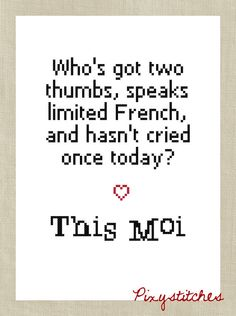 """Who's got two thumbs, speaks limited French, and hasn't cried once today? This moi!"" cross stitch"