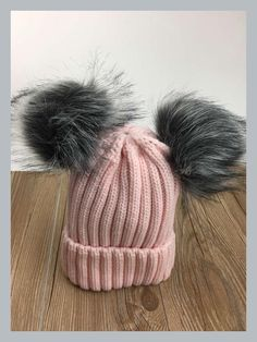 2017 new women cute knitted acrylic +fox fur pom pom beanies winter solid  hat Invierno 56377d0848bb