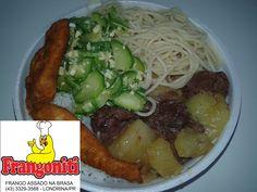 Hoje teremos: Carne de panela com batatas, isca de frango frito, macarrão alho e óleo, abobrinha com ovos, arroz com feijão e salada!