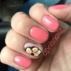 Christy C @sasssycc nails by aprilsnailz | OPI Gel Sorry I'm not fizzy today + CND VIP status + big flower. Spring nails. Flower nails. shellac nail art. Shellac nails designs. **Leave the credits and details as these are someone's nails!**